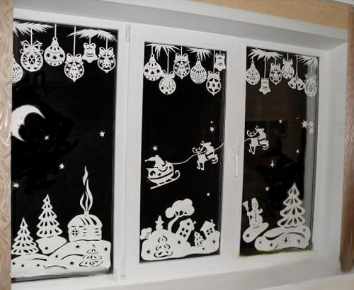новогодние вытынанки на окнах, фото 2