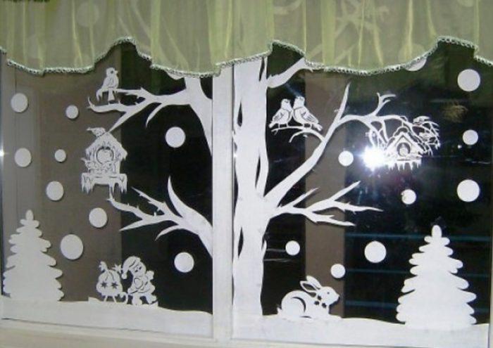 новогодние вытынанки на окнах, фото 3