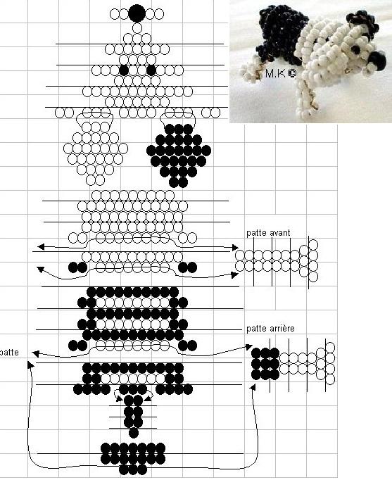 собака из бисера, схемы 3