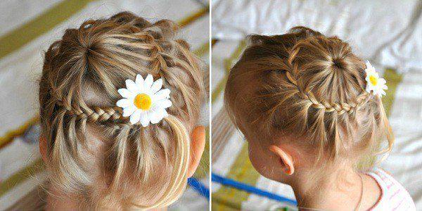 фото идеи детских причесок на среднюю длину волос для девочек 3
