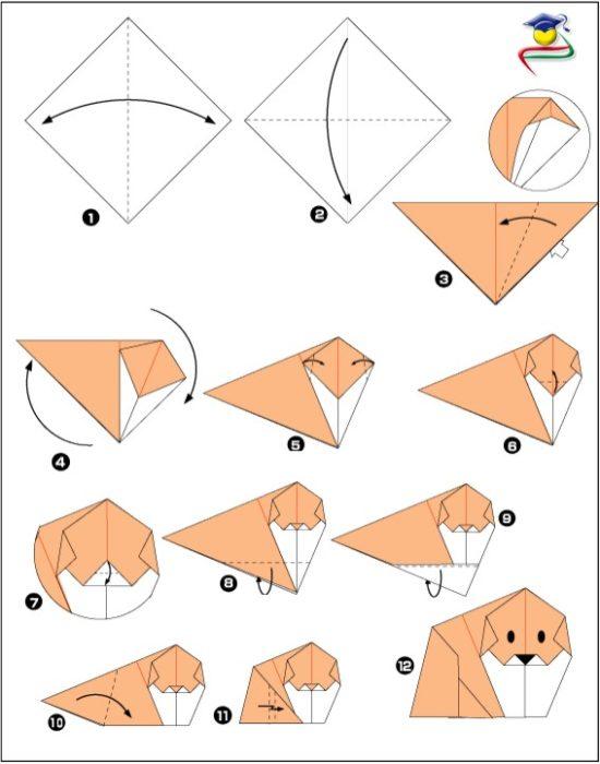 Оригами из бумаги собака схема 849