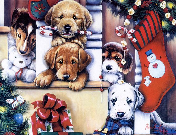 новогодние картинки с символом Собаки 2018, галерея на фото 17