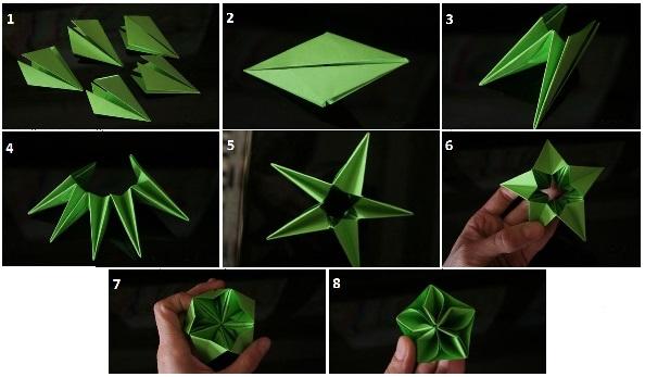 елочные игрушки в технике оригами, мастер-класс на фото 2