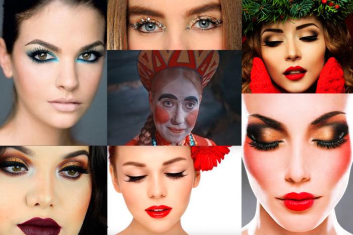 модные тенденции, новинки, тренды и цвета новогоднего макияжа 2018