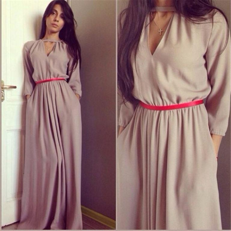 Сшить длинное платье с длинными рукавами 52